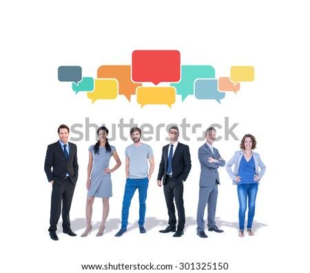 Business team against speech bubbles - stock photo