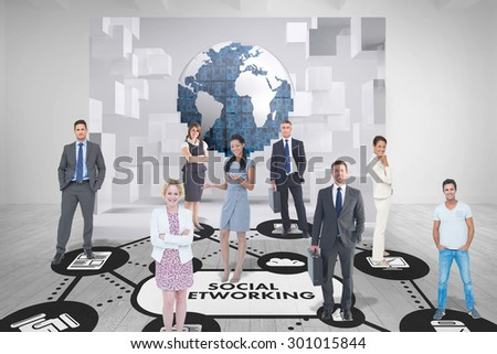 Business team against white room with abstract picture of earth - stock photo