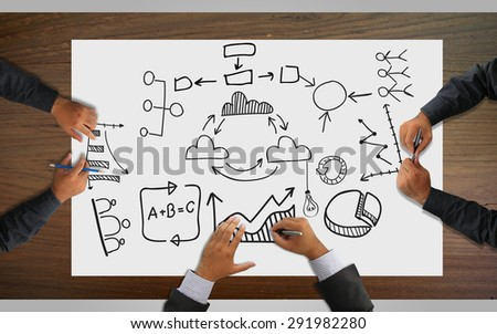 Business team analysis financial , graph, planning - stock photo
