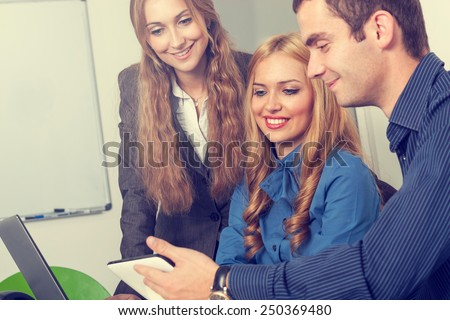 Business team at the office working - stock photo