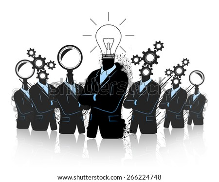 Business team brainstorming, searching for idea - stock photo