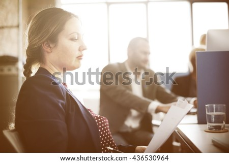 Business Team Busy Working Workplace Concept