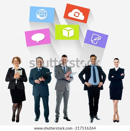 Business team, colorful icons over white - stock photo