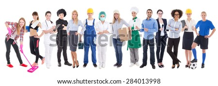business team concept - set of different people isolated on white  background - stock photo