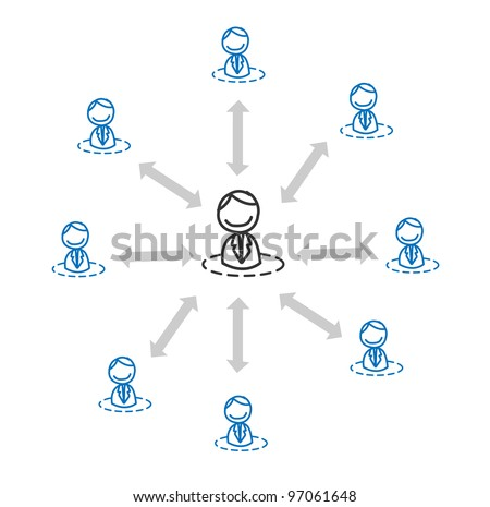 business team connected - stock photo