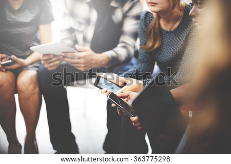 Business Team Digital Device Technology Connecting Concept - stock photo