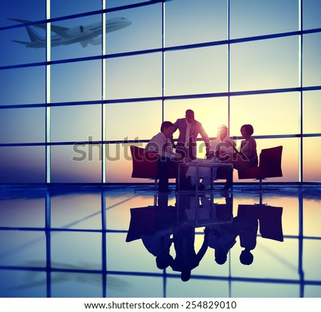 Business Team Discussion Meeting Airplane Take off Concept - stock photo