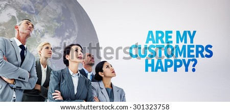 Business team during meeting against grey background - stock photo