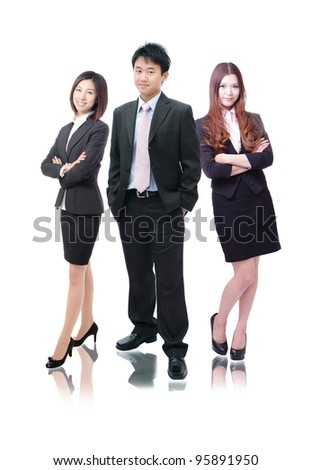 business team formed of young business men and business women standing over a white background - stock photo