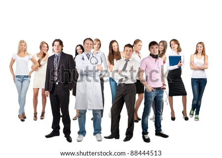 Business team formed of young businessmen and businesswomen standing over white background - stock photo