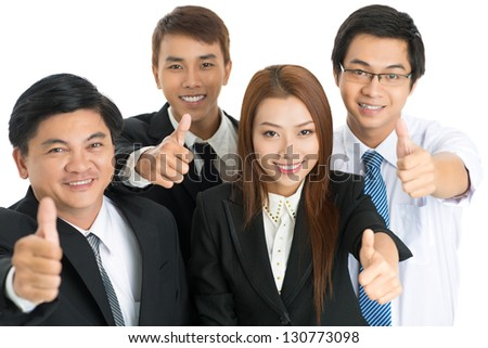 Business team gesturing isolated