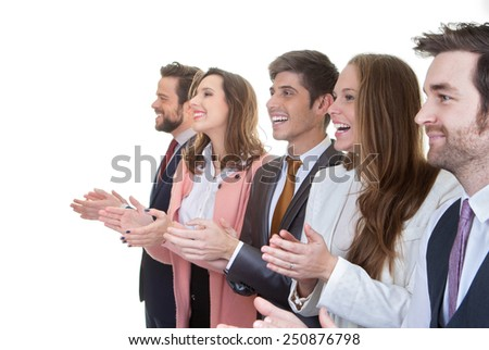 business team group applauding in meeting - stock photo