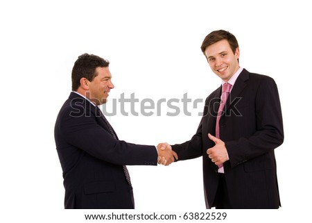 Business team hand shake. Isolated on white - stock photo