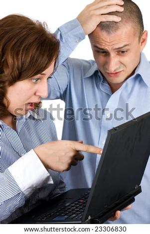 business team having problems - stock photo