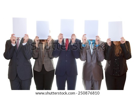 business team holding blank papers with copy space.  - stock photo