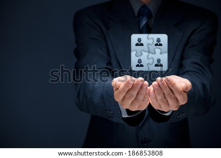 Business team, human resources cooperation, connection and unity concepts. Good team fit together like puzzle pieces. - stock photo