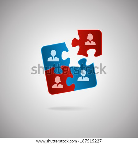 Business team, human resources cooperation, connection and unity concepts. Good team fit together like puzzle pieces.