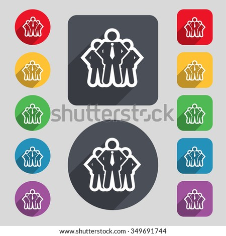 business team icon sign. A set of 12 colored buttons and a long shadow. Flat design. illustration - stock photo