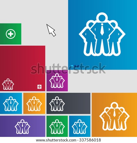 business team icon sign. buttons. Modern interface website buttons with cursor pointer. illustration - stock photo
