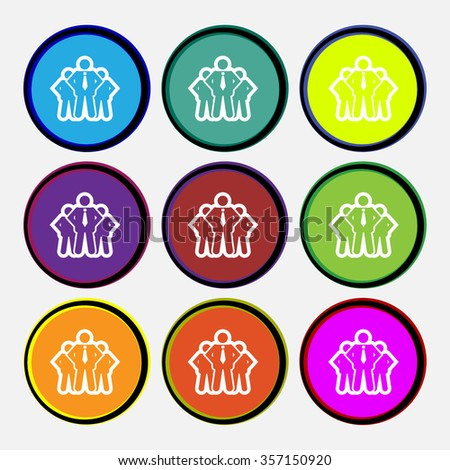 business team icon sign. Nine multi colored round buttons. illustration - stock photo
