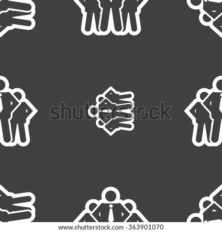 business team icon sign. Seamless pattern on a gray background. illustration - stock photo