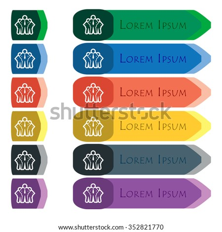 business team icon sign. Set of colorful, bright long buttons with additional small modules. Flat design.  - stock photo