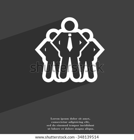 business team icon symbol Flat modern web design with long shadow and space for your text. illustration - stock photo