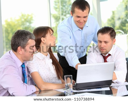business team in business meeting - stock photo
