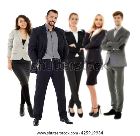 Business team in full length isolated on white background