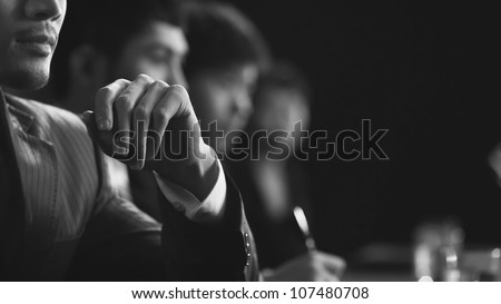 business team in meeting - stock photo
