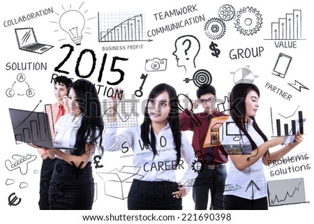 Business team in meeting to find idea and make resolutions in 2015 - stock photo