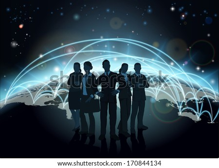Business team in silhouette with globe in the background with network or flight paths - stock photo