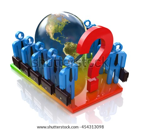 business team in solving the global problem in the design of information related to issues and business. 3d illustration - stock photo