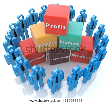 Business Team in the design of information related to teamwork - stock photo