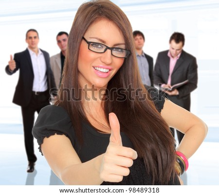 Business team isolated on light business background - stock photo