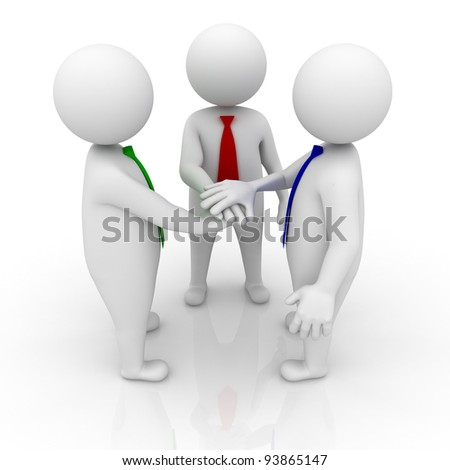 Business team joining hands on white background with reflection