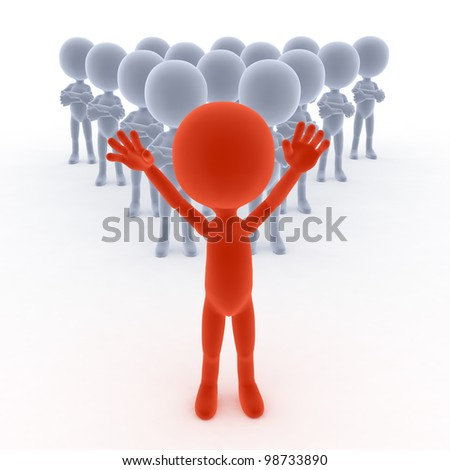 Business team leader with his people. 3d little humans - stock photo
