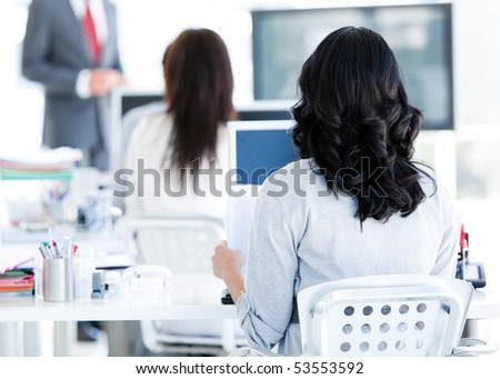 Business team listenning a presentation  in the office - stock photo