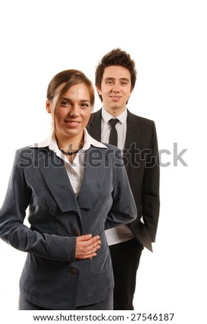 Business team looking at camera. - stock photo