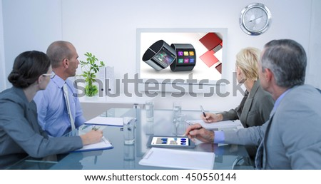 Business team looking at time clock against app account for smart watch - stock photo