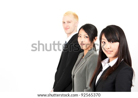 business team looking,lining, isolated on white background