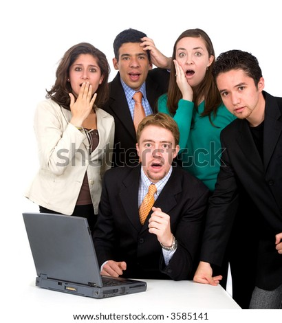 business team looking shocked and stressed - isolated over a white background - stock photo