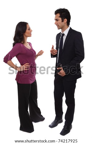 Business team male and female workers communicating