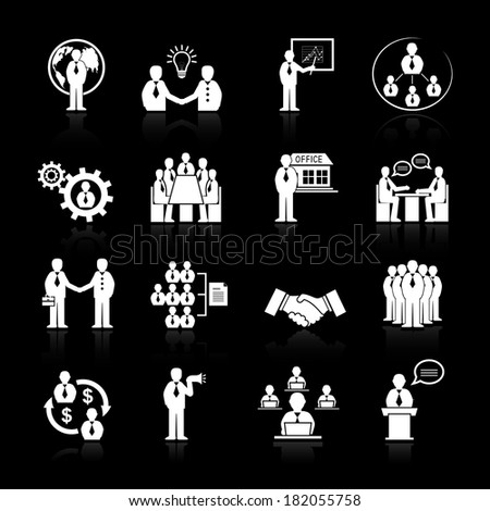 Business team meeting at office conference presentation icons set isolated  illustration