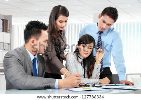 business team meeting in the meeting room - stock photo