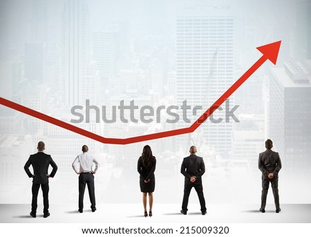 Business team observe growing successful statistics trend - stock photo