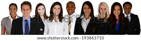 Business Team of Mixed Races on a white background