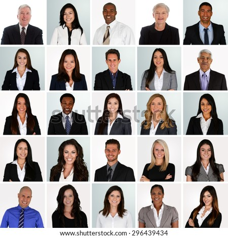 Business Team of Mixed Races Working For A Company - stock photo