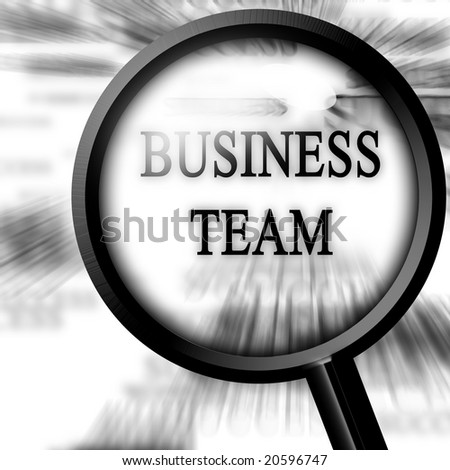 business team on a white background with a magnifier