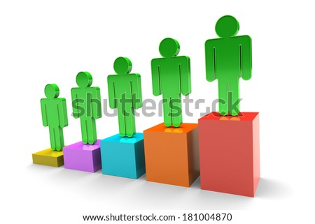 Business team on bar chart isolated on white background
